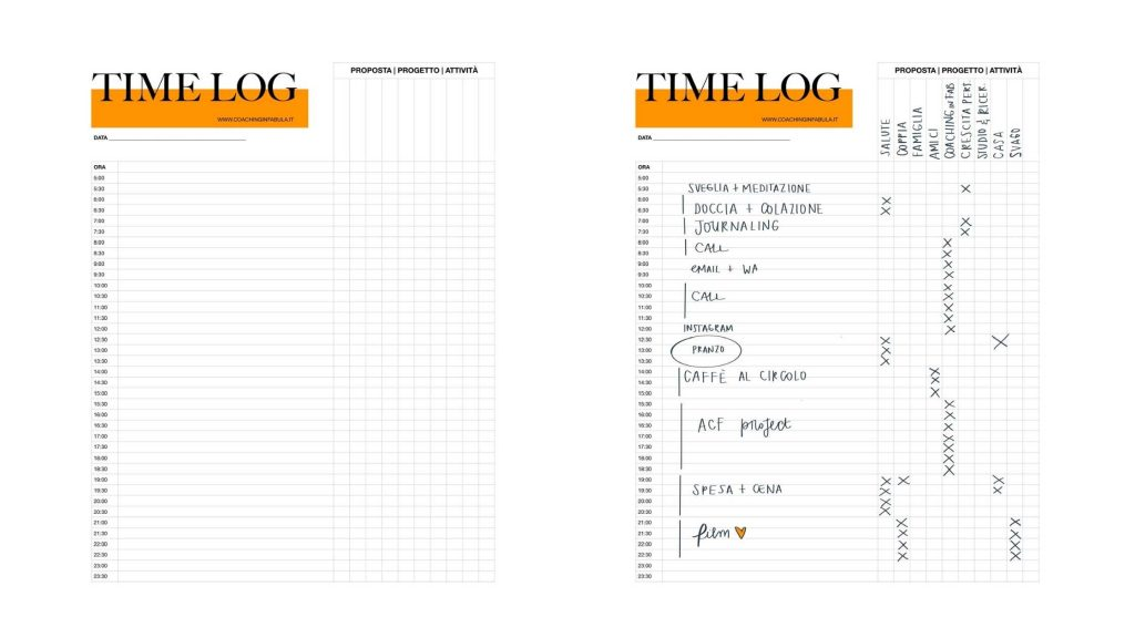 Timelog worksheet scaricabile download ITA
